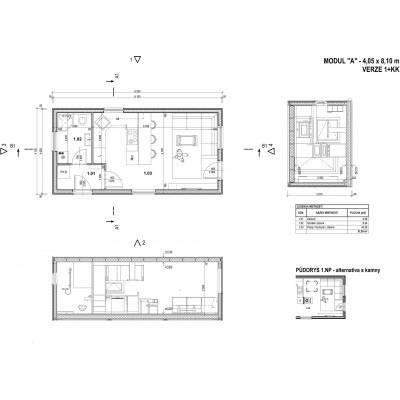 Modulares Haus 1-Zimmer - Grundriss